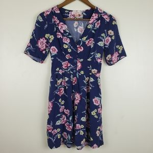 Band of gypsies Floral Blue Dress Womans Size S